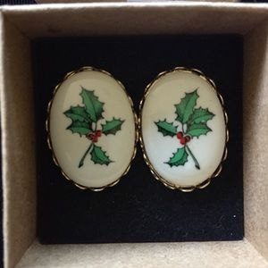 Vintage Holly Christmas Earrings